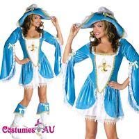 Ladies Caribbean Pirate Velvet Costume Wehch Swashbuckler Fancy Dress Outfit Hat