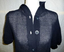 NWT City Blues by Koret Women's Navy Blue Crochet Sweater Cardigan Hoodie Sz S