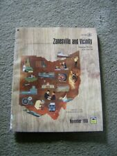 vintage 1968 ZANESVILLE OHIO TELEPHONE PHONE BOOK, white and yellow pages