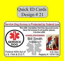 HOLOGRAM SERVICE DOG / PET ID CARD BADGE  FOR SERVICE ANIMAL PROFESSIONAL TAG 21