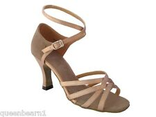 1606 Brown Satin Ballroom Salsa Mambo Latin Dance Shoes heel 3 Size 9