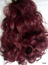 """24"""" Clip in Hair Extension Curly Wavy Plum Red #99J One Piece 3 layers 5 clips"""