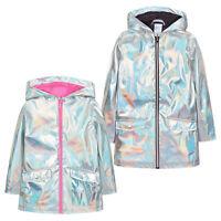 Girls Holographic Iridescent Shiny Silver Raincoat Hooded Jacket Baby Girl Coat