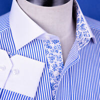 Light Blue Striped Dress Shirt Luxury Men's White Windsor Collar Business Top