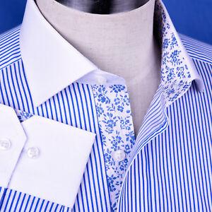 Light Blue Striped Dress Shirt Luxury Men's White Windsor Collar Business Top