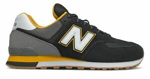 New Balance Men's 574 Shoes Black with Gold
