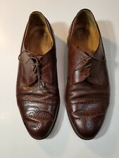 Johnson & Murphy Conrad Cap Tie Brown Dress Shoes Size 10 Mens Made in Italy