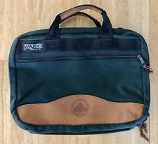 Jansport Messenger Briefcase Computer Bag Green Canvas Leather Trim NO STRAP