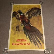 "RARE Original 1955 Winchester Pheasant Hunting 28"" x 42"" Advertising Poster"