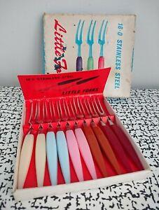 50s 60s Vintage Retro Kitsch Little Cocktail Forks Box Set Bar Party MCM