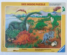 Vintage Ravensburger Dinosaur See Inside Puzzle Tray Frame 33 Pieces