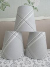 Handmade Taper Drum Lampshade 15cm Laura Ashley Corby Check silver fabric