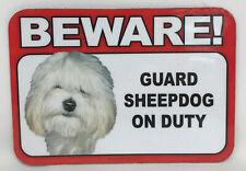 Beware! Guard Sheepdog Dog On Duty Magnet Laminated Car Pet 6x4 New