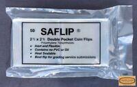 50 SAFLIP 2 1/2 X 2 1/2 COIN FLIP MUSEUM QUALITY- NON PVC-Safe for coins #28512