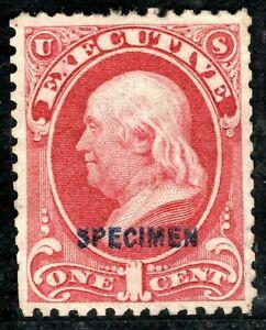 USA Official Stamp SPECIMEN *EXECUTIVE* 1c Franklin 1873 Mint MNG ORANGE328