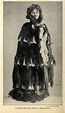 Historische Mode der Kaiserzeit Langes Cape aus Zobel mit Spitzengarnitur v.1900