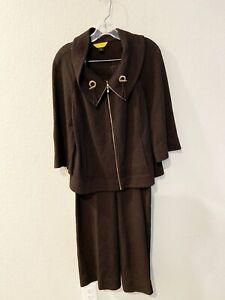St. John 2 Piece Brown Pants Suit Womens Size Medium