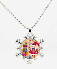Christmas Santa Snowflake Presents Cabochon Necklace Bronze USA Shipper #353
