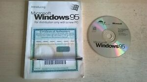 MICROSOFT WINDOWS 95 - PC OPERATING SYSTEM WITH CD SAMPLER, MANUAL, COA & CODE
