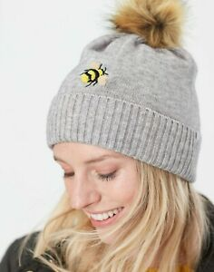 NEW! Joules Stafford Knitted Grey Ladies Bee Embroidered Hat