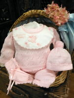 NWT Will'beth Pink Knit 4pc Pant Set Newborn Baby Girls Hat Booties 100% Cotton