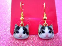 Black and White Face Terry Cat Dangle Earrings