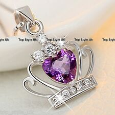 925 Sterling Silver Purple Crystal Heart Pendant Necklace Princess Queen Crown