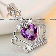 925 Sterlingsilber Violetter Kristall Herz Anhänger Halskette Prinzessin Königin