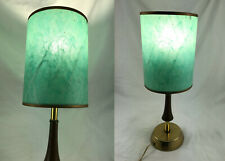Vtg Working Mid Century Modern Leviton Brass & Wood Table Lamp with Green Shade