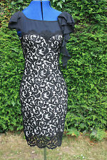 New Karen Millen lined black lace dress scoop neck cap sleeve size 10 cost £180