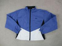 VINTAGE Reebok Jacket Womens Medium Blue Black Windbreaker Coat Ladies 90s