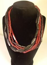 """""""Coldwater Creek""""  6 Strand 20"""" Wood Bead Necklace"""