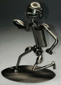 Metal Art Sculpture Football Player Welded Nuts Bolts Scrap Recycled NFL
