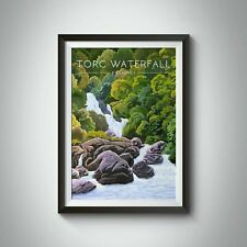 More details for torc waterfall ireland travel poster - framed - vintage - bucket list prints