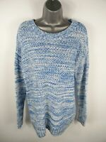 WOMENS GAP BLUE/WHITE MARL LONG SLEEVED THICK KNIT CREW NECK JUMPER UK M MEDIUM