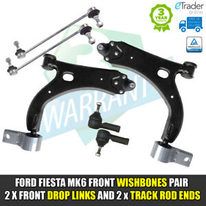 FORD FIESTA MK6 02 - 08 FRONT CONTROL ARM WISHBONES L+R LINK BARS TRACK ROD ENDS