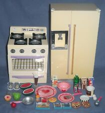 Vtg Lot TYCO Kitchen Littles 36pc Stove Refrigerator Food Dishes Ice Barbie 1:6