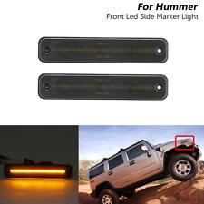 2x Smoked Lens Led Front Amber Lamp Side Marker Lights For Hummer H2 2003-2009