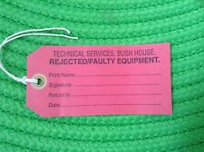 Ex-BBC BUSH HOUSE WORLD SERVICE REJECTED/FAULTY EQUIPMENT LABEL