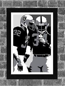 Los Angeles Raiders Bo Jackson Marcus Allen Portrait Sports Print Art 11x17