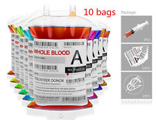 Reusable IV Blood Bags Halloween Party Haunted House Drink Plastic Container X10