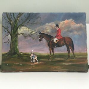 Antique Vintage Original Oil on Canvas Painting Hunting Scene Horse Early 20th C