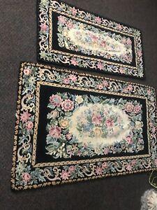 Set Of 2 VTG Village Square Needlepoint Black Floral (Rose) Area Wool Rugs-Japan