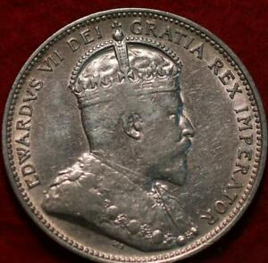 1910 Canada 25 Cents Silver Foreign Coin