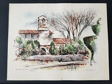 John Haymson Vintage circa 1950's Lithograph/Watercolor Print-San Juan Mission.