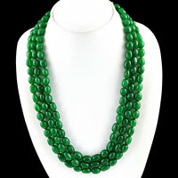 733.50 CTS EARTH MINED 3 STRAND RICH GREEN EMERALD OVAL SHAPED BEADS NECKLACE