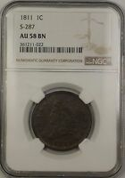 1811 Classic Head Large Cent 1c Coin S-287 NGC AU-58 BN Brown *VERY SCARCE*
