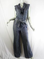 Elevenses Anthropologie Navy Blue Dots & Denim Jumpsuit Sz 6