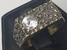 Vintage Textured Pebbled CZ Gold Over Silver Men's Ring Size T