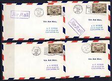 (D-1279) Canada Air Post FDC 1932 Sc#C3 x 4 London, Hamilton, Ottawa and Toronto